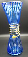 Hand Blown Murano Style Clear Blue Stripes & Yellow Wrap Art Glass Vase Italian
