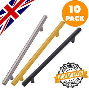 10 x Brushed Steel Gold or Black T Bar Handles Kitchen Cabinet Door Cupboard