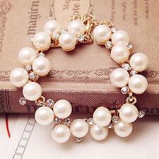 Fashion Girl's Women Pearl Crystal Rhinestone Cuff Bracelet Bangle Jewelry Gift