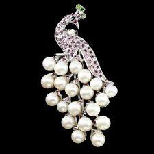 Große Brosche Pfau Perle Rhodolit Chromdiopsid Saphir 925 Silber 585 Weißgold
