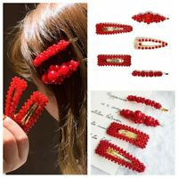 Hair Clip Barrette Red Women Pearl Hairpins Accessories Comb Fashion Bobby Gift