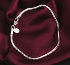 Women Fashion 925 Sterling Silver Plated Charm 3Mm Snake Chain Bracelet Bangle
