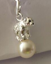 LOVELY SILVER POLAR BEAR STANDING ON A PEARL CLIP ON CHARM-3D-SILVER PLATE 925