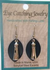 Fashion Earrings -Made with Fishing Lures- lighthouse charms - dark blue