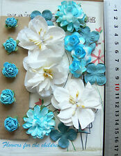 2 Tone AQUA & White Mix 5 Styles = 17 PAPER Roses & Flowers 15-55mm across
