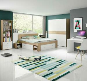 Jugendzimmer komplett Set Bett 140x200 Wiggi 4tl Kinderzimmer eiche sonoma weiss