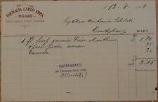FATTURA FARMACIA CARLO ERBA MILANO 13 AGOSTO 1908 PHARMACY DRG DRUGS