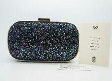 ANYA HINDMARCH Navy Purple Multicolored Glitter Marano Box Clutch Purse $850