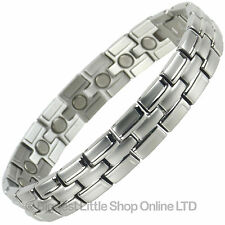 Mens Magnetic Stainless Steel Bracelet with Smart Chrome Finish Strong Magnets N