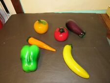 Vintage Murano Style Blown Glass Fruit Vegetable set of 6