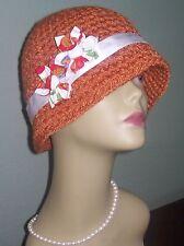 New NWT Derby Fedora Cloche Bamboo Pumpkin Velvet Fabric Flower Hat Holiday Warm