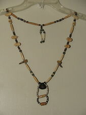 Beaded Necklace BEAR & CLAWS Tribal OA Regalia Pow Wow Wood Badge  N149