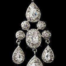 Antique Silver Clear CZ Crystal Bridal Chandelier Bridal Earrings #2677
