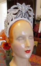 1930-40s Vintage Wedding Tiara Crystal & Mercury Beading & Rhinestones Showgirl