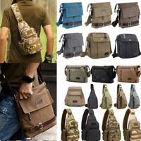 Men Canvas Military Messenger Chest Bag Sling Crossbody Satchel Hiking Travel US