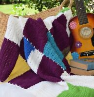 New Handmade Multi-Color OOAK Granny Square Crochet Lap Blanket Afghan Throw