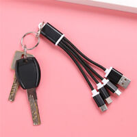 3 in 1 USB Sync Data Charger Cable Cord Key Ring For  & Android Type-c Fad~EF