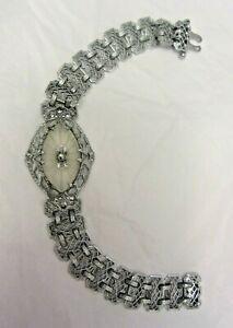 Vintage Rhodium Filigree Camphor Glass Bracelet Art Deco Edwardian Silver Chain