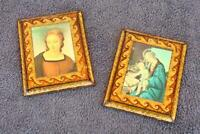 Pictures Framed Made In Italy On wood Pair Estate Madonna Child Jesus Old AK