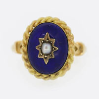 Victorian Pearl and Enamel Ring 18ct Yellow Gold