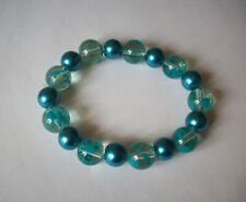 NEW TEAL SPATTERED & GLASS PEARL BEADED BRACELET, BUY 2 GET 3RD FREE