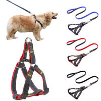 USA 4FT Long Nylon Dog Harness and Leash Set for Dogs Walking Small Medium Large