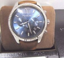 Michael Kors Mens MK8537 Lexington Chronograph 45mm Blue Dial Brown Strap Watch