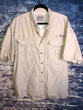 MEN'S BIMINI BAY OUTFITTERS LTD Tan BUTTON DOWN SHIRT SIZE XL Vintage Rare🔥fish
