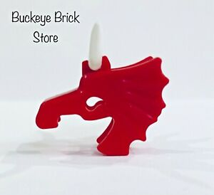 Lego Red Horse Battle Helmet With White Cattle Horns Animal Castle Accessory