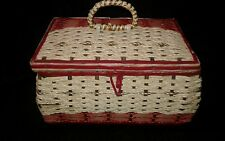 VINTAGE SEWING BASKET WITH ACESSORIES Mid Century 50's - 60's JAPAN