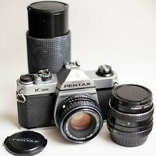 Pentax K1000 35mm SLR Film Camera with 50mm, 28mm and telephoto zoom lens Kit