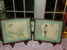 ORIENTAL ORG. WATER COLORS vntg. SIGNED PROFESSIONAL FRAMING  X 2 FAMILLE