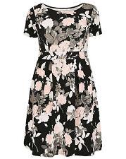 Kleid Gr.54 Stretchkleid Midikleid Blüten Babydoll Sommerkleid Sienna Couture