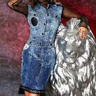Ocassion Robe en jeans Robe femme Jean Robe Veste en jeans robe Bleu XS-L