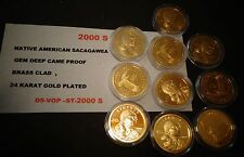 2000 S Native American 24 KT GOLD Sacagawea Dollar Deep Cameo GEM USA Proof Coin