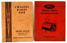 2 ~ FORD MANUALS 1928-37 CHASSIS PARTS LIST & 1943 ENGINE PARTS RECONDITIONING