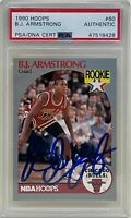 BJ ARMSTRONG Signed 1990 NBA HOOPS Chicago BULLS Rookie CARD #60 B.J. PSA/DNA