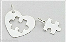 "0.8"" Solid Sterling Silver Puzzle Piece Heart Pendant 1.3g Autism Awareness 20mm"