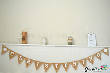 Hessian Bunting Rustic Vintage Banner Burlap Decoration Christening Baby