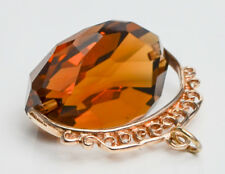 Vintage 9ct Yellow Gold Citrine Spinning Fob / Pendant / Charm
