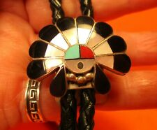 Vintage Hand Made WAR BONNET Native American Bolo Signed & Marked STERLING