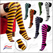Ladies Womens Over The Knee Striped Thigh High Comfortable Wear Socks UK 4-7 •