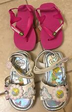 Havaianas Baby Brazil Loco Sandals Size 7-8 & Disney Tinker Bell Sandals Size 7