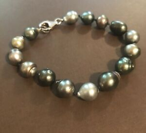 Tahitian Pearl Bracelet On Sterling Silver 9 Inches