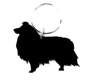 Sheltie Shetland Sheepdog  Dog Keyring Bag Charm Keychain Zipper Gift in Black