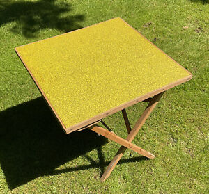 VINTAGE RETRO WOODEN FOLDING CAMPING PICNIC CARD GAME TABLE BARBECUE YELLOW MCM