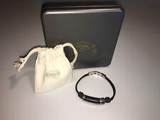 FOSSIL Herren Armband / Herrenarmband Leder schwarz Edelstahl NEU JF01540040