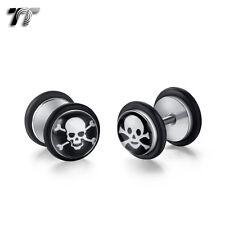 TT Clear 8mm Epoxy Surgical Steel Skull Fake Ear Plug Earrings (BE149) NEW