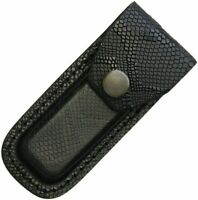 "Black Leather Snake Pattern Folding Knife Tool Flashlight Sheath Fits 3"" to 3.5"""