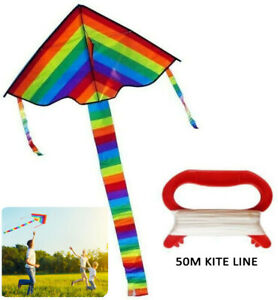 2XRainbow Triangle Kite Outdoor Children Fun Sports Toys Gift with 50m Kite Line